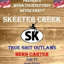 After Country Fest Party Flyer - July 12, 2014.. Official After Country Fest Party with Skeeter Creek!